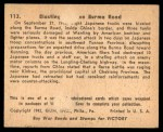 1941 Gum Inc. War Gum #113   Blasting Japanese On Burma Road Back Thumbnail