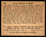 1941 Gum Inc. War Gum #122   Brave Children Of Malta Back Thumbnail