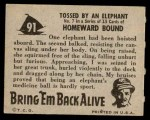 1950 Topps Bring Em Back Alive #91   Tossed By An Elephant Back Thumbnail
