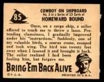 1950 Topps Bring Em Back Alive #85   Cowboy On Shipboard Back Thumbnail