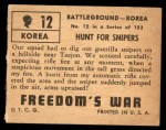1950 Topps Freedoms War #12   Hunt for Snipers   Back Thumbnail
