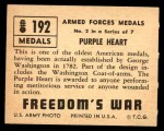 1950 Topps Freedoms War #192   Purple Heart  Back Thumbnail