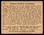1941 Gum Inc. War Gum #73   Hangman Heydrich Assassinated Back Thumbnail