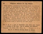 1941 Gum Inc. War Gum #20   Filipinos Attack 54 Japanese Planes Back Thumbnail
