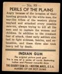1947 Goudey Indian Gum #89   Perils Of The Plains Back Thumbnail