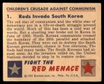 1951 Bowman Red Menace #1   Reds Invade South Korea Back Thumbnail