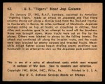 1941 Gum Inc. War Gum #42   U.S. Tigers Blast Japanese Column Back Thumbnail