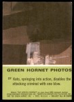 1966 Donruss Green Hornet #27   Kato disables attacking criminal Back Thumbnail