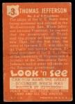 1952 Topps Look 'N See #3  Thomas Jefferson  Back Thumbnail