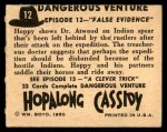 1950 Topps Hopalong Cassidy #12   False evidence Back Thumbnail