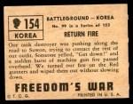1950 Topps Freedoms War #154   Return Fire  Back Thumbnail