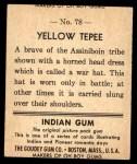 1947 Goudey Indian Gum #78   Yellow Tepee Back Thumbnail