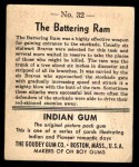 1947 Goudey Indian Gum #32   The Battering Ram Back Thumbnail