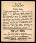 1947 Goudey Indian Gum #66   Luqaiot Back Thumbnail
