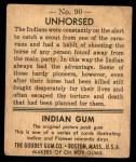 1947 Goudey Indian Gum #90   Unhorsed Back Thumbnail