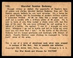 1941 Gum Inc. War Gum #102   Marshal Seimon Budenny Back Thumbnail