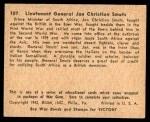 1941 Gum Inc. War Gum #107   Lt. General Jan Christian Smuts Back Thumbnail