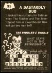 1966 Topps Batman -  Riddler Back #35 RID  Dastardly Duo Back Thumbnail