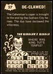 1966 Topps Batman -  Riddler Back #27 RID  De-Clawed Back Thumbnail