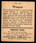 1947 Goudey Indian Gum #41   Wampum Back Thumbnail