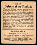1947 Goudey Indian Gum #26   Defense Of The Stockade Back Thumbnail