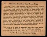 1941 Gum Inc. War Gum #77   Ukrainian Guerillas Blast Troops Train Back Thumbnail