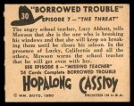 1950 Topps Hopalong Cassidy #30   The threat Back Thumbnail
