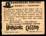 1950 Topps Hopalong Cassidy #9   Treachery Back Thumbnail