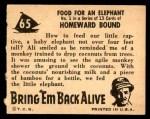 1950 Topps Bring Em Back Alive #65   Food For An Elephant Back Thumbnail