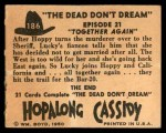 1950 Topps Hopalong Cassidy #186   Together again Back Thumbnail