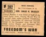 1950 Topps Freedoms War #202   General Omar N. Bradley  Back Thumbnail