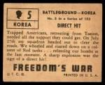 1950 Topps Freedoms War #5   Direct Hit   Back Thumbnail