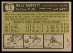 1961 Topps #16  Billy Muffett  Back Thumbnail