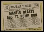 1961 Topps #406   -  Mickey Mantle Baseball Thrills Back Thumbnail