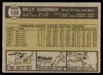 1961 Topps #123  Billy Gardner  Back Thumbnail