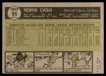 1961 Topps #95  Norm Cash  Back Thumbnail