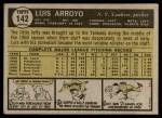 1961 Topps #142  Luis Arroyo  Back Thumbnail