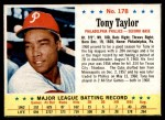 1963 Post #178  Tony Taylor  Front Thumbnail
