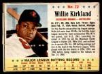 1963 Post Cereal #72  Willie Kirkland  Front Thumbnail