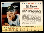 1963 Post #142  Bill Virdon  Front Thumbnail