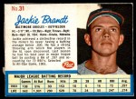 1962 Post Cereal #31  Jackie Brandt   Front Thumbnail