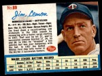 1962 Post Cereal #89  Jim Lemon   Front Thumbnail