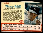 1962 Post #104  Maury Wills   Front Thumbnail