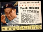 1961 Post Cereal #48 BOX Frank Malzone   Front Thumbnail