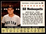 1961 Post Cereal #54 BOX Bill Monbouquette   Front Thumbnail