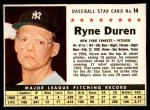 1961 Post Cereal #14 BOX Ryne Duren   Front Thumbnail