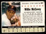 1961 Post #147 BOX Willie McCovey   Front Thumbnail
