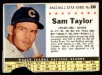1961 Post Cereal #198 BOX Sam Taylor   Front Thumbnail