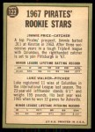1967 Topps #123   -  Luke Walker / Jim Price Pirates Rookies Back Thumbnail
