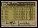 1961 Topps #367  Jim Rivera  Back Thumbnail